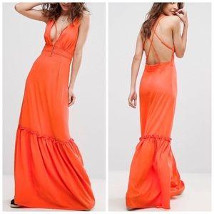 ASOS Strappy Open Back Orange Maxi Dress